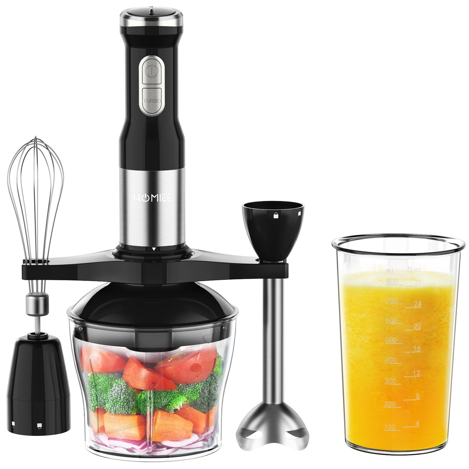 HOMIEE Hand Blender, Multi-Purpose 5-in-1 Immersion Blender Stick with 15-Speed Control and Turbo for Baby Food & Kitchen Use, Including Stainless Chopper, Egg Whisk, 800ML BPA-Free Beaker & Storage Bracket, Black 141[並行輸入]   B07D5VK94L