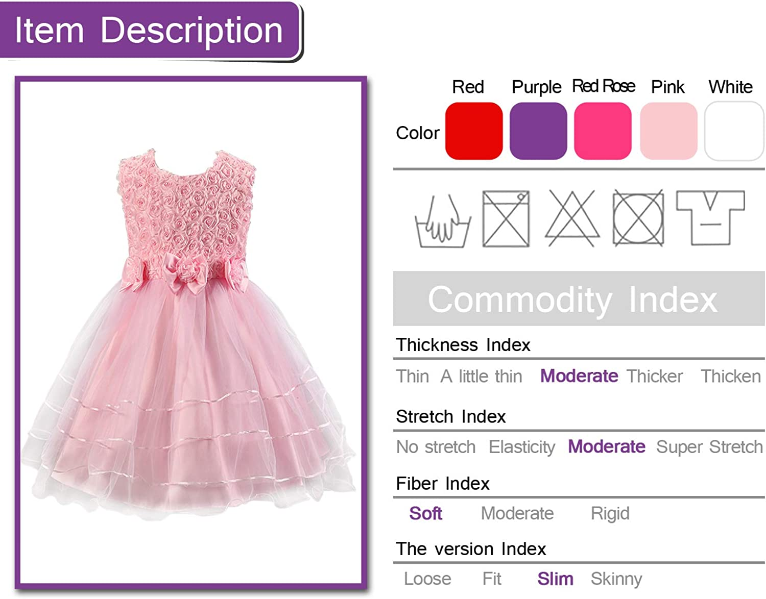 Discoball Girls Rose Flower Bow Tie Princess Party Dress Tulle Wedding Bridesmaid Christening Dress for Girls