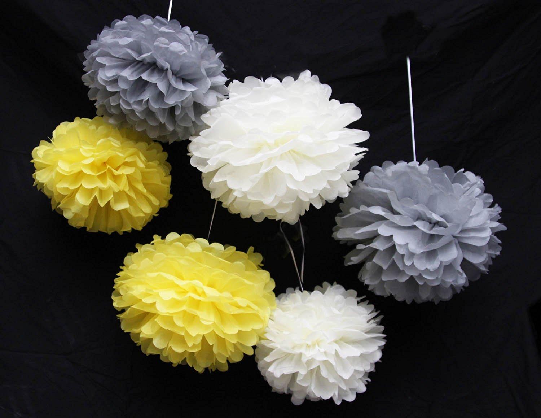 Gelb Creme grau Outdoor Dekoration Seidenpapier Pom Poms Party B/älle Hochzeit Weihnachten Weihnachts Dekoration Gelb Creme grau cutadorns 12 25,4 cm Seidenpapier Pompons