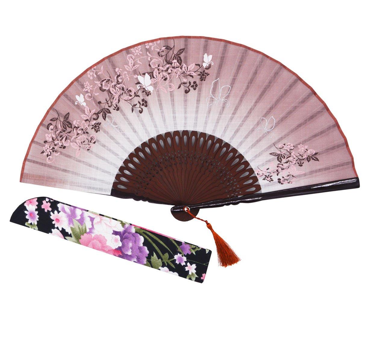 caf/é /Éventail pliant en soie et bambou perfor/é de 21/cm avec /étui de protection Sthuahe style vintage chinois//japonais