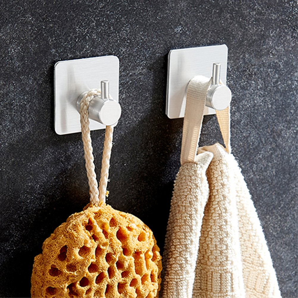 BQTime Towel Hooks 3M Self Adhesive Hooks Super Power Heavy Duty Stainless Steel Key Robe Coat Clothes Bag Hanger Holder, Wall Mounted, Waterproof, Kitchen Sink Bathroom Shower Accessories, 4 Pack by BQTime (Image #2)