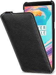 StilGut UltraSlim Case, Custodia Flip Case per OnePlus 5T in Vera Pelle, Nero