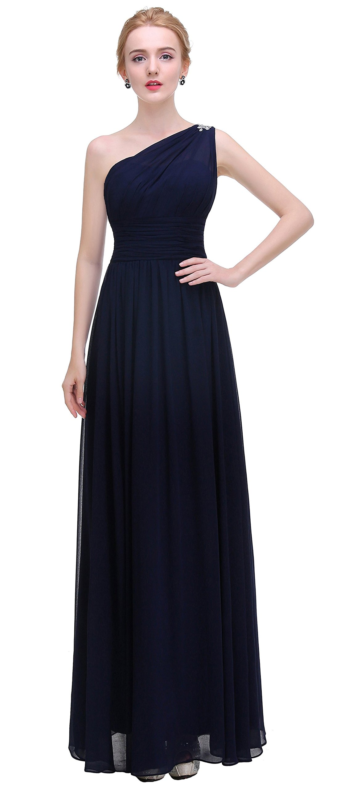 esvor One Shoulder Prom Party Evening Gown Long Bridesmaids Dress Navy 6