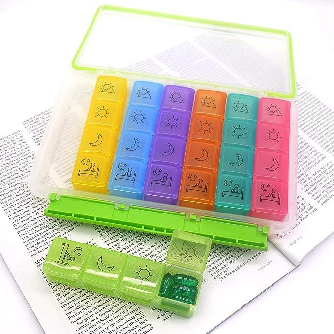 PuTwo Pastillero 7 Días 28 compartimentos Dispensador de Medicamentos Semanal 4 tomas Pastillero Organizador Medicamentos Organizador Dosificador de ...