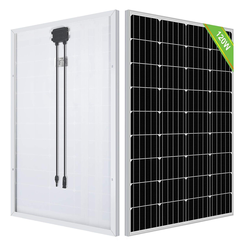 ECO-WORTHY 120 Watts panel solar monocristalino de 12 voltios aplicable para autocaravana, barcos, cobertizo, caravana, hogar, sistema de energía solar fuera de la red (Panel solar 120W)
