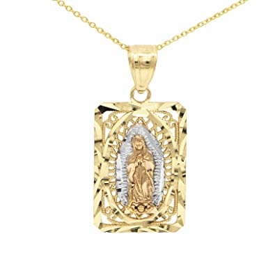 Amazon ice on fire jewelry 14k yellow gold virgen de guadalupe ice on fire jewelry 14k yellow gold virgen de guadalupe pendant necklace with 16quot mariner mozeypictures Choice Image