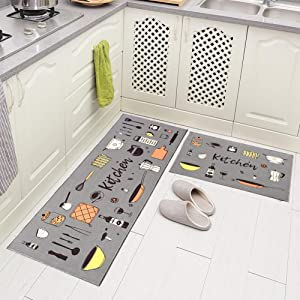 """Carvapet 2 Piece Non-Slip Kitchen Rug TPR Anti-Slip Backing Mat for Doorway Bathroom Runner Rug Set, Grey Kitchen Design (17""""x48""""+17""""x24"""")"""