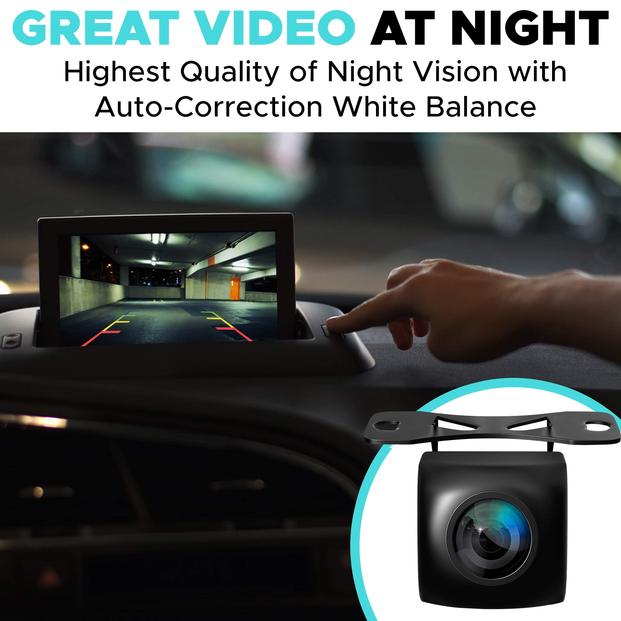 Backup Camera Night Vision - HD 1080p - Car Rear View Parking Camera - Best 170° Wide View Angel - Waterproof Reverse Auto Back Up Car Backing Camera - High Definition - Fits All Vehicles by Yanees by YANEES (Image #3)