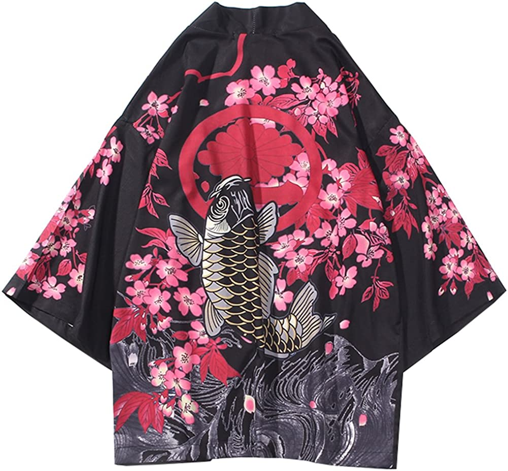 LifeHe Men's Kimono Japanese Floral Printed Kimono Cardigan Jackets Streetwear