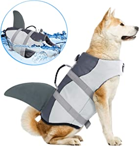 Dog Life Jackets, Ripstop Pet Floatation Life Vest for Small, Middle, Large Size Dogs, Dog Lifesaver Preserver Swimsuit for Water Safety at The Pool, Beach, Boating