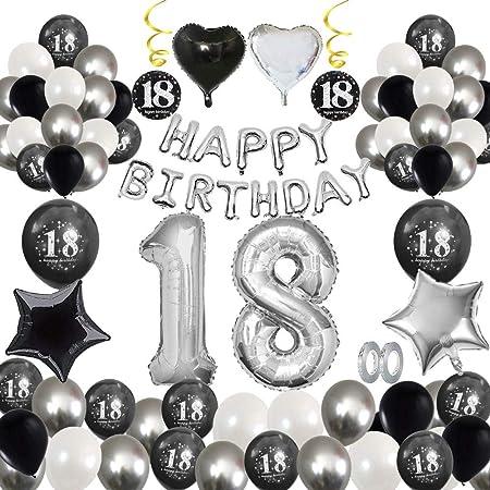 MMTX 18 Decoración fiesta cumpleaños, Feliz cumpleaños Decoracion Globos Negro plateado con Happy Birthday Banner, impresión látex Globos de papel de ...