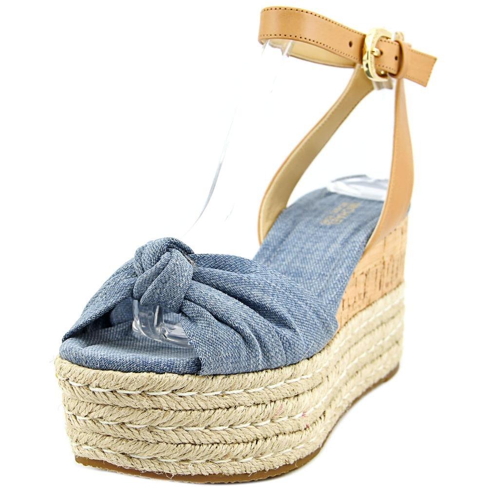 MICHAEL Michael Kors Womens Maxwell Cotton Open Toe, Washed Denim, Size 8.5
