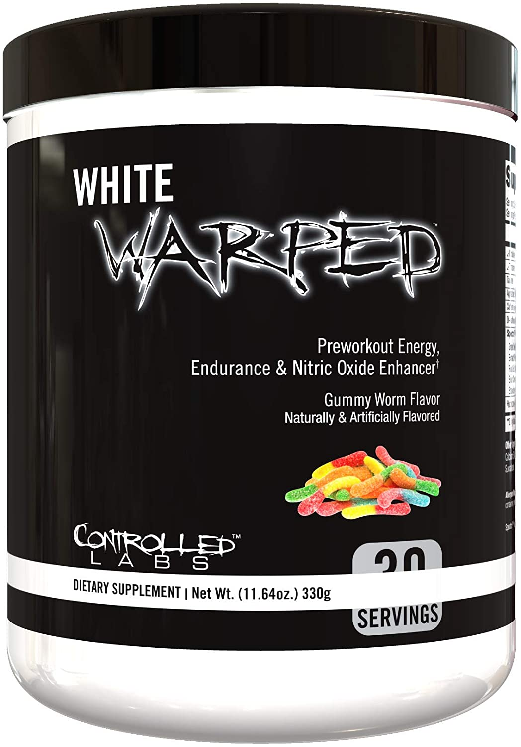 White Warped Pre-Workout Powder by Controlled Labs, 30 Servings for Increased Energy, Endurance, and Nitric Oxide Enhancement, Fast Absorbing for Workouts, Training, Sports and Bodybuilding