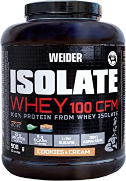 Weider Isolate Whey 100CFM 908gr Sabor Cookies. 100% aislado de proteina de suero. Cero azúcar, cero aspartamo, con stevia, con dygezime, con BCAA, ...