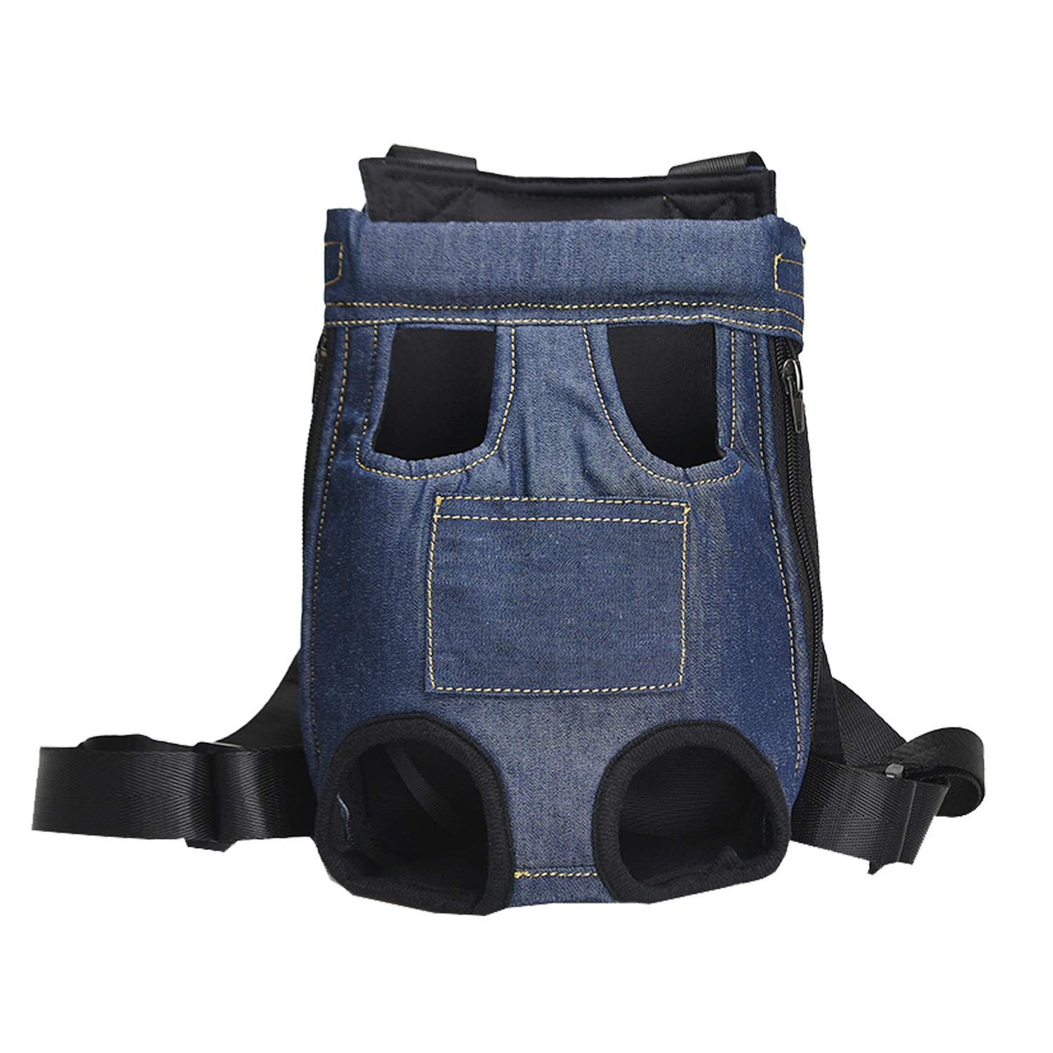 Pet Carrier Backpack Dog Cat Carrier Large Size, Adjustable Denim Front Kangaroo Pouch Pet Front Cat Dog Carrier Backpack Travel Bag, Legs Out, Easy-Fit for Traveling Hiking Camping.Dark XXXL