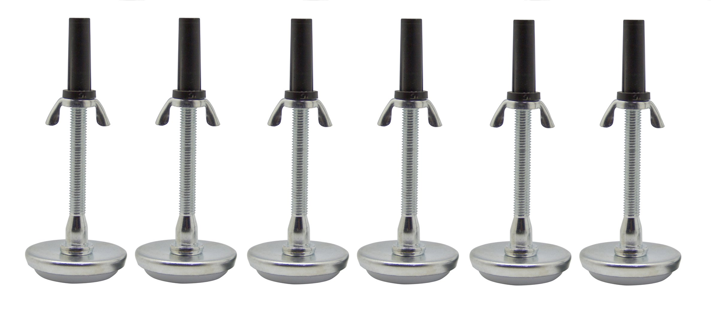 Kings Brand Adjustable 5.8'' Threaded Bed Frame Riser Glide Legs, Set of 6 Glides