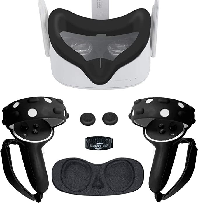 Black Simumu VR Face Silicone Cover Mask /& Face Pad for Oculus Quest Face Cushion Cover Sweatproof Lightproof