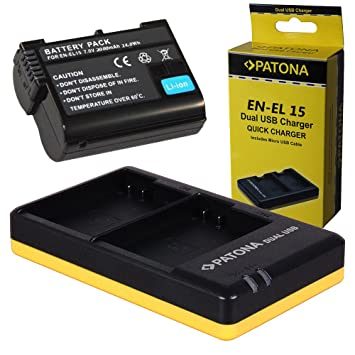 Dual Cargador PATONA + 1x Bateria para Premium Nikon EN-EL15 ...