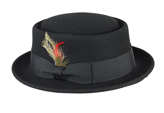 Unisex Mens Women Vintage Classic 100% Wool Pork Pie Felt Feather Hat 4  Sizes   b7b5b0310e3f