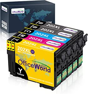 OfficeWorld Remanufactured Ink Cartridge Replacement for Epson 202 XL 202XL T202 T202XL Used for Workforce WF-2860, Expression Home XP-5100 Printer, 5 Pack (2 Black, 1 Cyan, 1 Yellow, 1 Magenta)