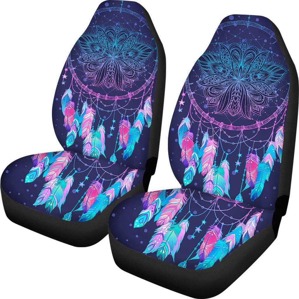 Car Interior Protector Horse Dreamcatcher Print ELEQIN Front Car Seat Covers Set of 2 Universal Fit for Vehicle Sedan and Jeep