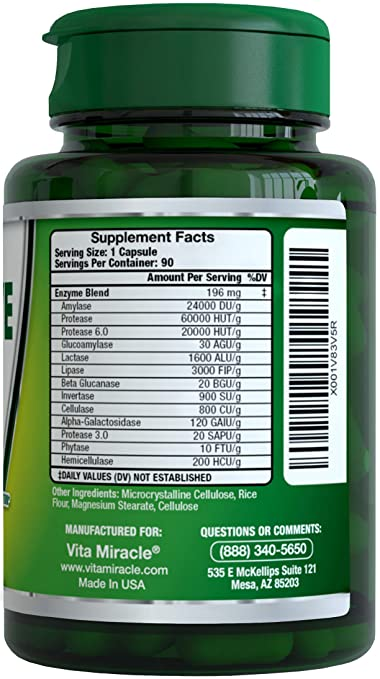 #1 Digestive Enzyme Supplements Support Digestion with Essential Super Digestive Enzymes Lipase...