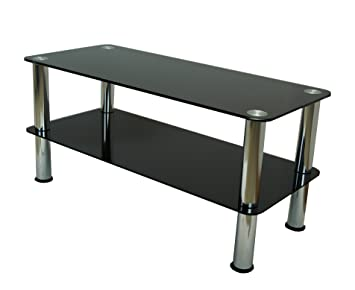 Mountright Coffee Table Tv Stand Side Table Black Glass Silver