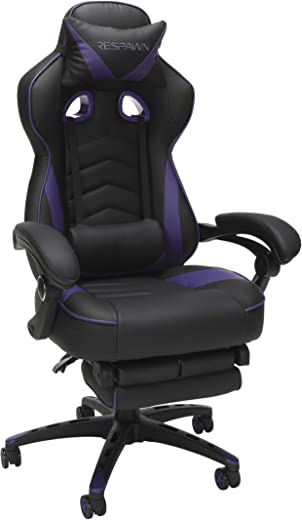 RESPAWN 110 Racing Style Gaming Chair, Reclining Ergonomic Chair with Footrest, in Purple (RSP-110-PUR)