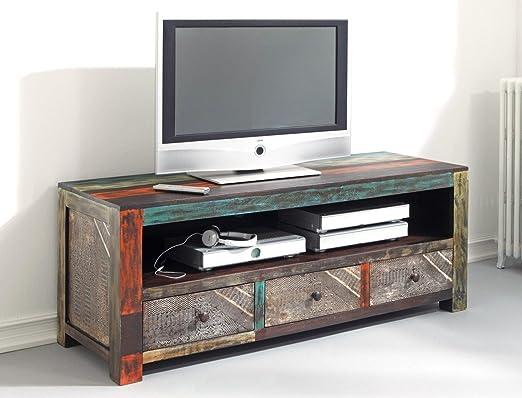 expendio Mueble bajo Punjab 150 x 60 x 55 cm Acacia Metal TV de Muebles de TV Armario Used Look Vintage: Amazon.es: Hogar