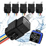 Kohree 40/30 Amp Automotive Relay Harness, 5-Pin SPDT Bosch Relay 12V 30Amp Waterproof Automotive Marine Relays 5 Pack for Bo