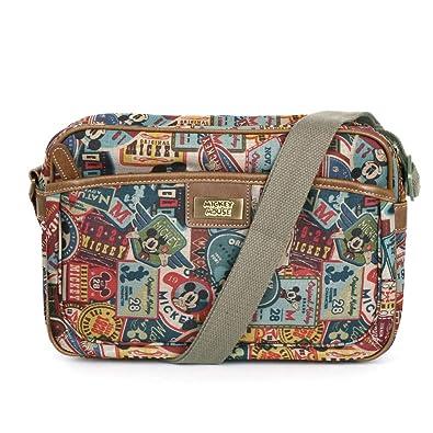 d17b37ee3b Disney Mickey Label Pattern Canvas Mini Shoulder Bag Retro Messenger Bag  014  Handbags  Amazon.com