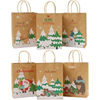 Elcoho 24 Pieces Christmas Paper Bags Holiday Kraft Bag Shopping Bags Party Bags with Handle for Christmas Decorations