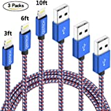 QSSTECH Phone Cable 3 Packs 3FT 6FT 10FT Nylon Braided USB Charging & Syncing Cord Compatible with Phone XS MAX XR X 8 8 Plus 7 7 Plus 6s 6s Plus 6 6 Plus and More (Red+Blue+White)