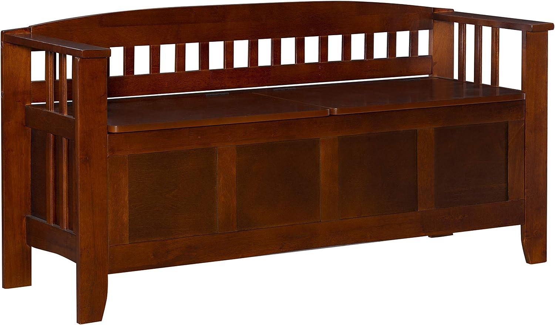 Linon Home Decor Storage Bench with Short Split Seat Storage, Walnut: Kitchen & Dining