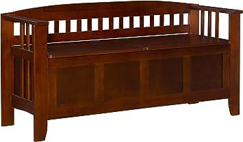 NEW Linon Home Decor Storage Bench with Short Split Seat Storage Stool