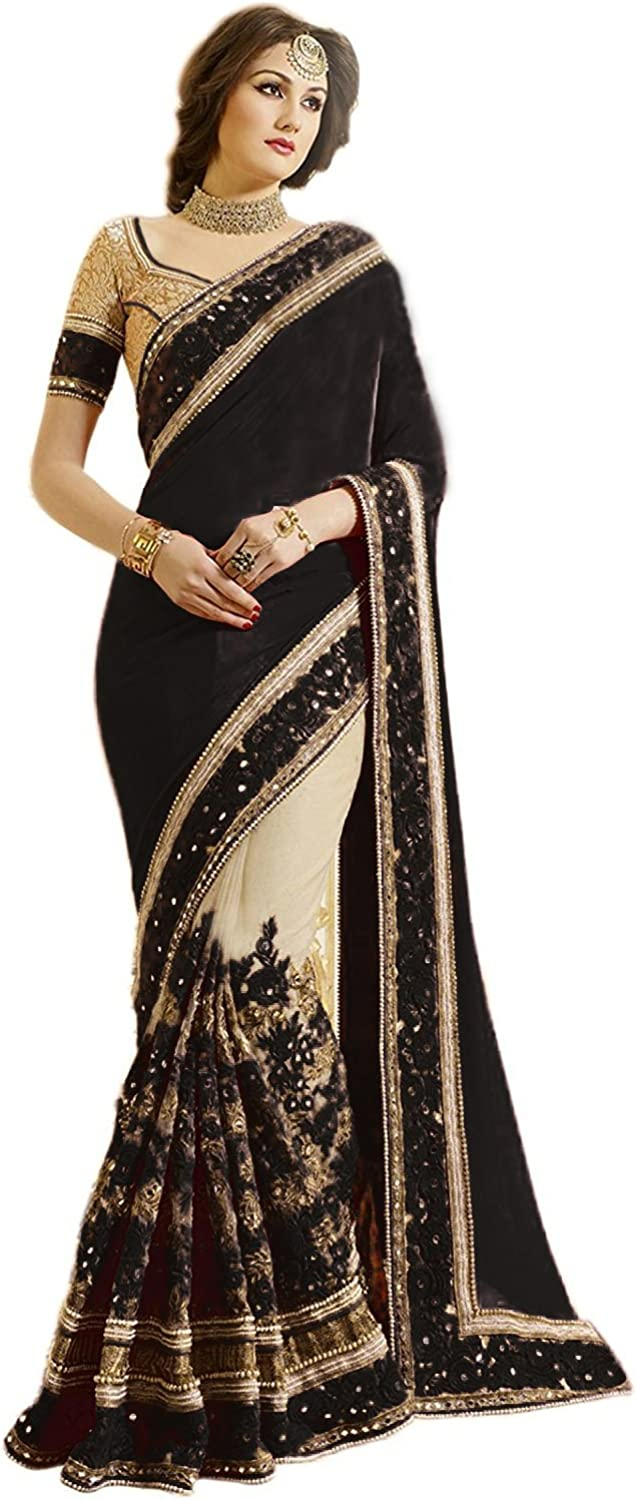 Nivah Fashion Womens Satin /& Net Embroidery Saree with Blouse Piece K608