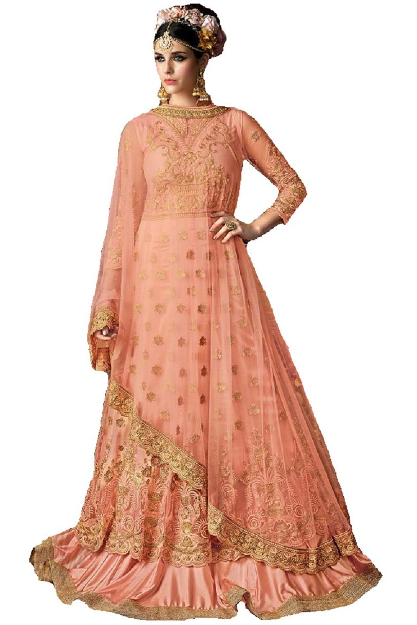 Readymade New Designer Bollywood Indian/Pakistani Anarkali Suit VF (Large, Light Yellow)