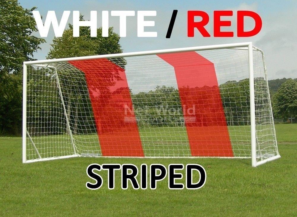 ストライプSoccer Goal Net – ホワイト/レッド – 公式フルサイズFIFAスペック – 24 x 8 / 24 ' x 8 ' B005N7D0PM 1x White/Red Soccer Net (Single)