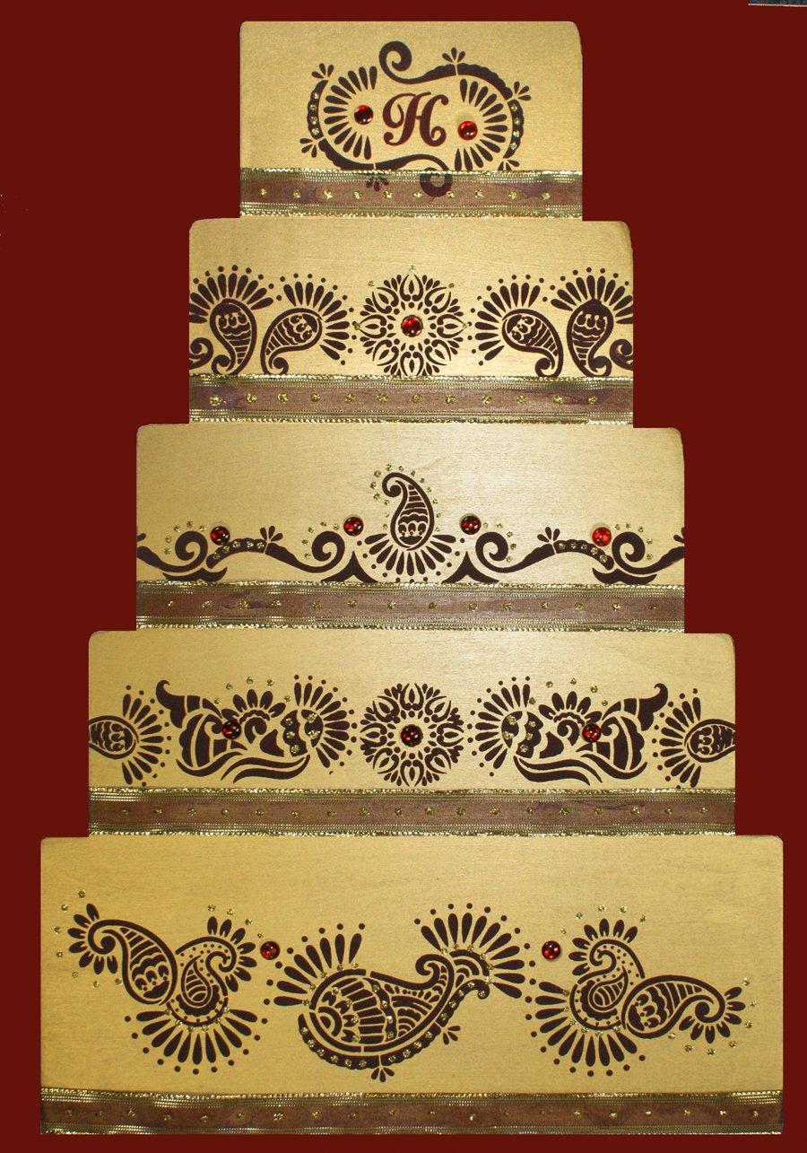 Designer Stencils C388 Mehndi Cake 5 Tier Set Cake Stencils, Beige/semi-transparent by Designer Stencils (Image #3)