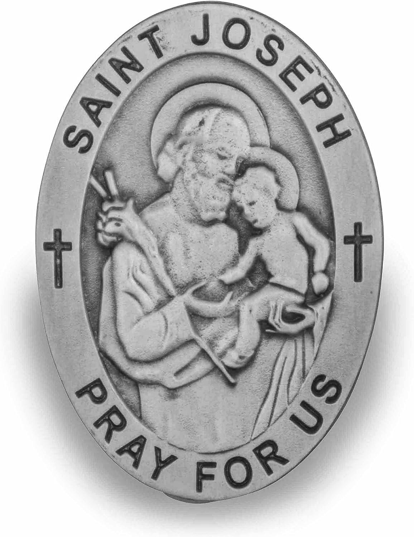 Pray for Us Inscribed VILLAGE GIFT IMPORTERS Genuine Pewter Visor Clip St. Michael Police 2 Long
