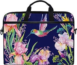 AHOMY 15 Inch Laptop Bag Watercolor Flowers Hummingbird Shoulder Laptop Sleeve Case Bag with Adjustable