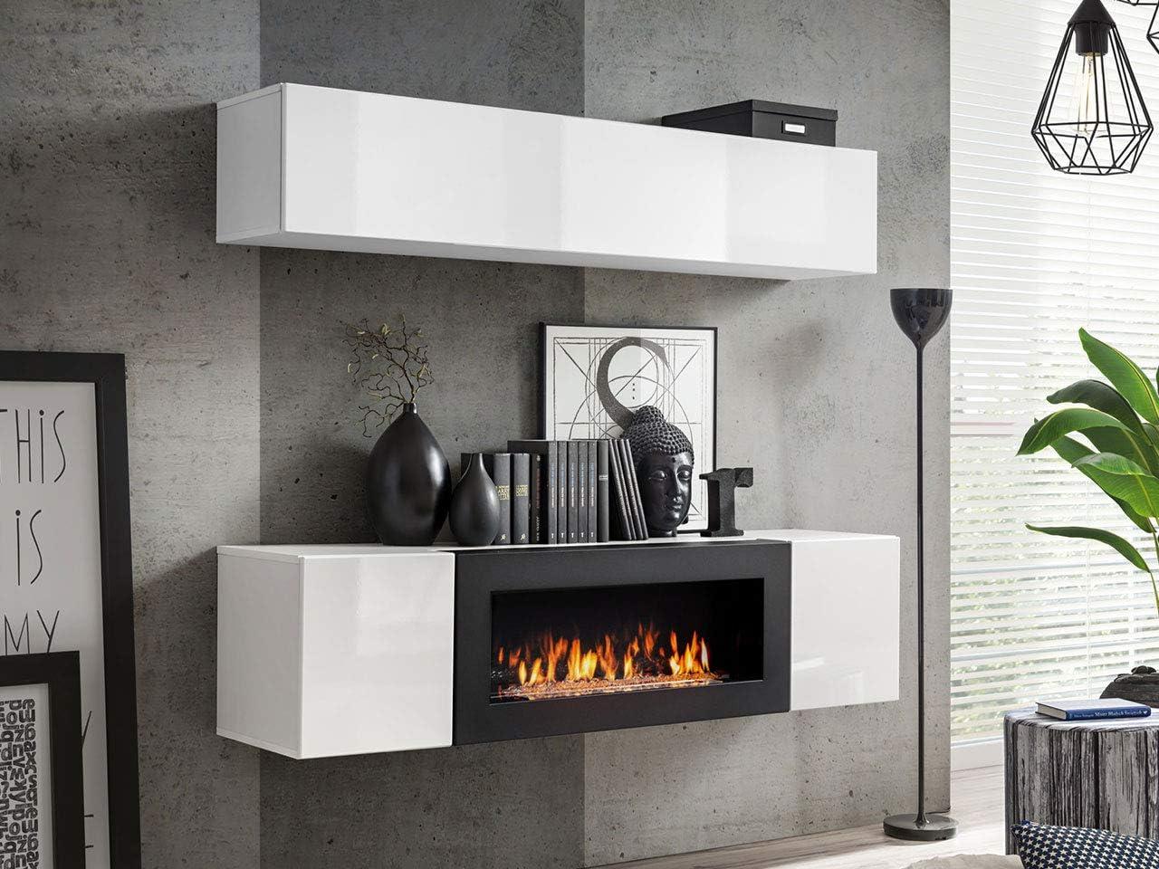 Moderne Wohnwand mit Kamin Bioethanol Flyer N9, Elegante Anbauwand mit  Kamineinsatz, Schrankwand, Wohnzimmer-Set, TV-Lowboard, Vitrine (Weiß/Weiß