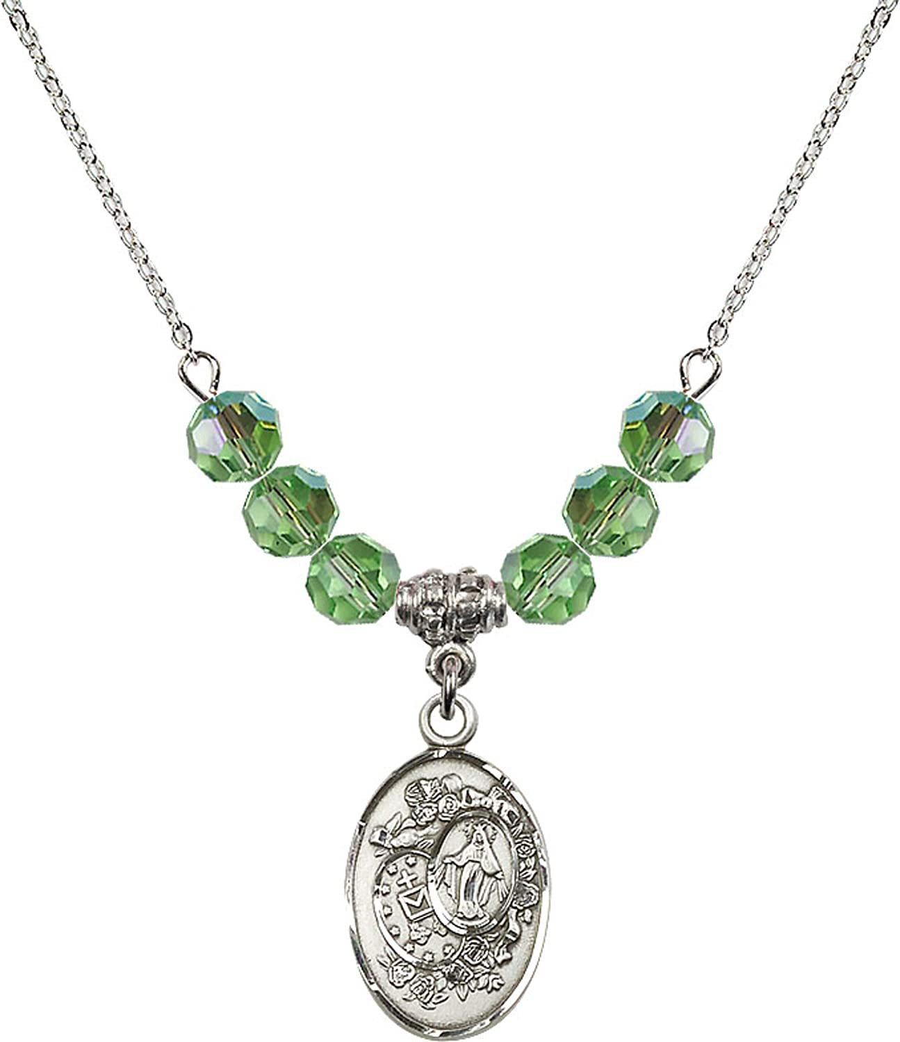 Bonyak Jewelry 18 Inch Rhodium Plated Necklace w// 6mm Green August Birth Month Stone Beads and Miraculous Charm