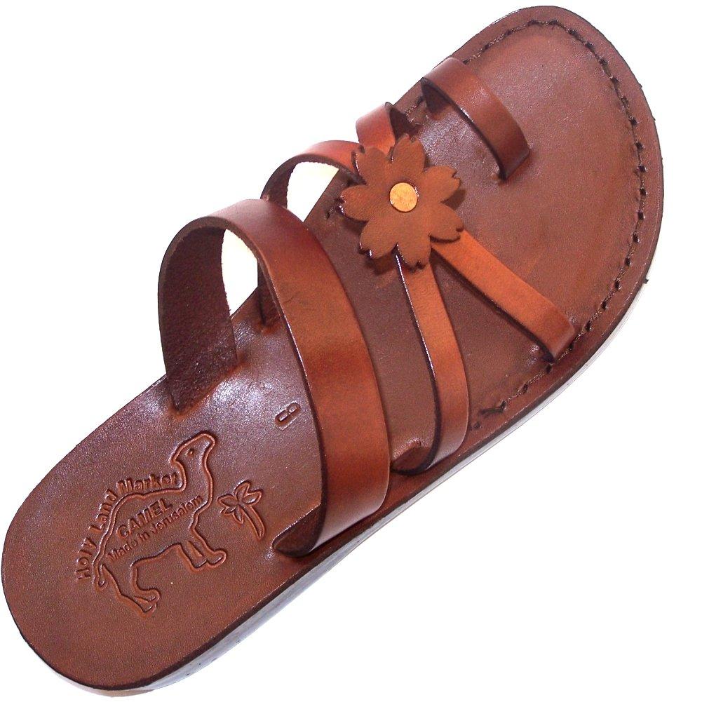 Holy Land Market Unisex Leather Biblical Flip flops (Jesus - Yashua) Galilee Style - EU 37