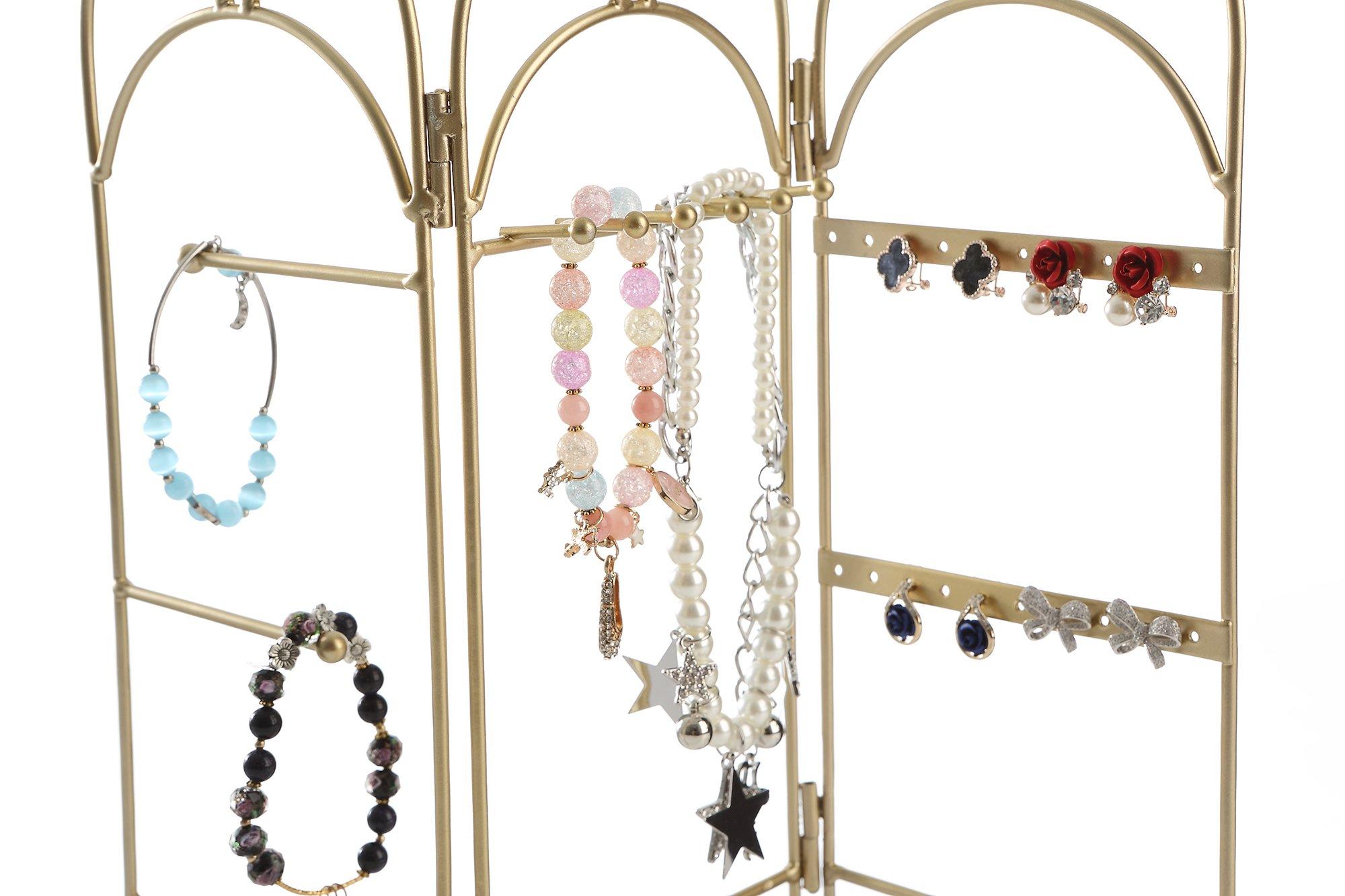 Modern Gold Metal 3 Panel Trellis Folding Jewelry Hanger Organizer for Bracelet, Earrings, Necklace