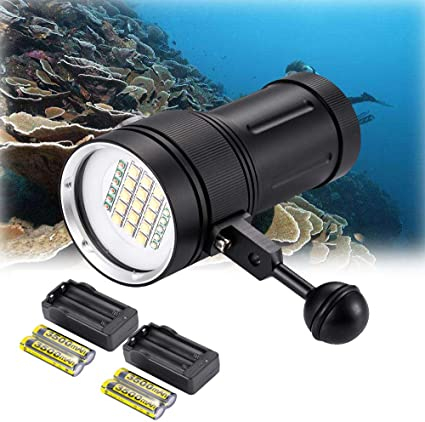 DOMINTY Diving Flashlight 15x XM-L2+6X Red+6X UV LED Photography Video Scuba Dive Light Submarine Rechargeable Waterproof Underwater 100M Torch Handheld Flashlight Light+ Stand 1+Battery+Charger
