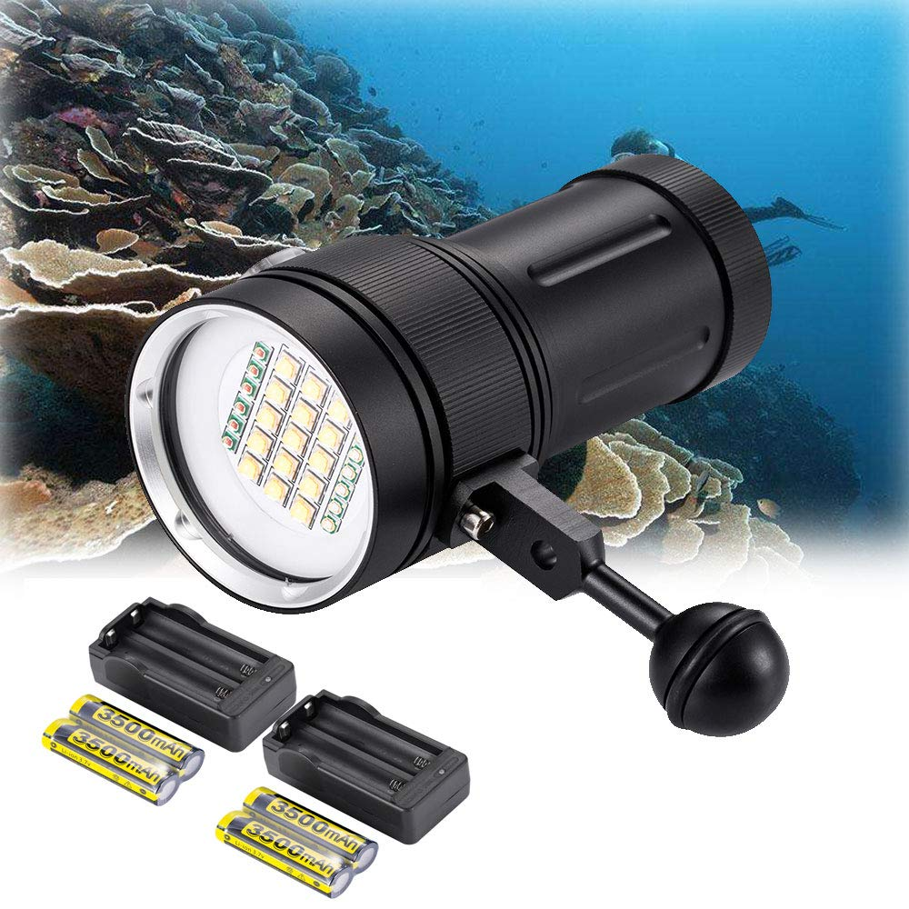 DOMINTY Diving Flashlight 15x XM-L2+6X Red+6X UV LED Photography Video Scuba Dive Light Submarine Rechargeable Waterproof Underwater 100M Torch Handheld Flashlight(Light+ Stand 1+Battery+Charger) by DOMINTY