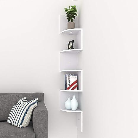 Corner Shelf, 5 Tier Corner Shelves Zig Zag Wall Mount Shelves Floating  Shelves for Living Room, Bedroom, Bathroom, Office, Kitchen (White)