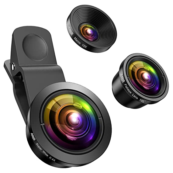 (Upgraded) AMIR for iPhone Camera Lens, 0 4X Super Wide Angle Lens, 195°  Fisheye Lens, 15X Macro Lens, 3 in 1 Cell Phone Camera Lens for iPhone X,