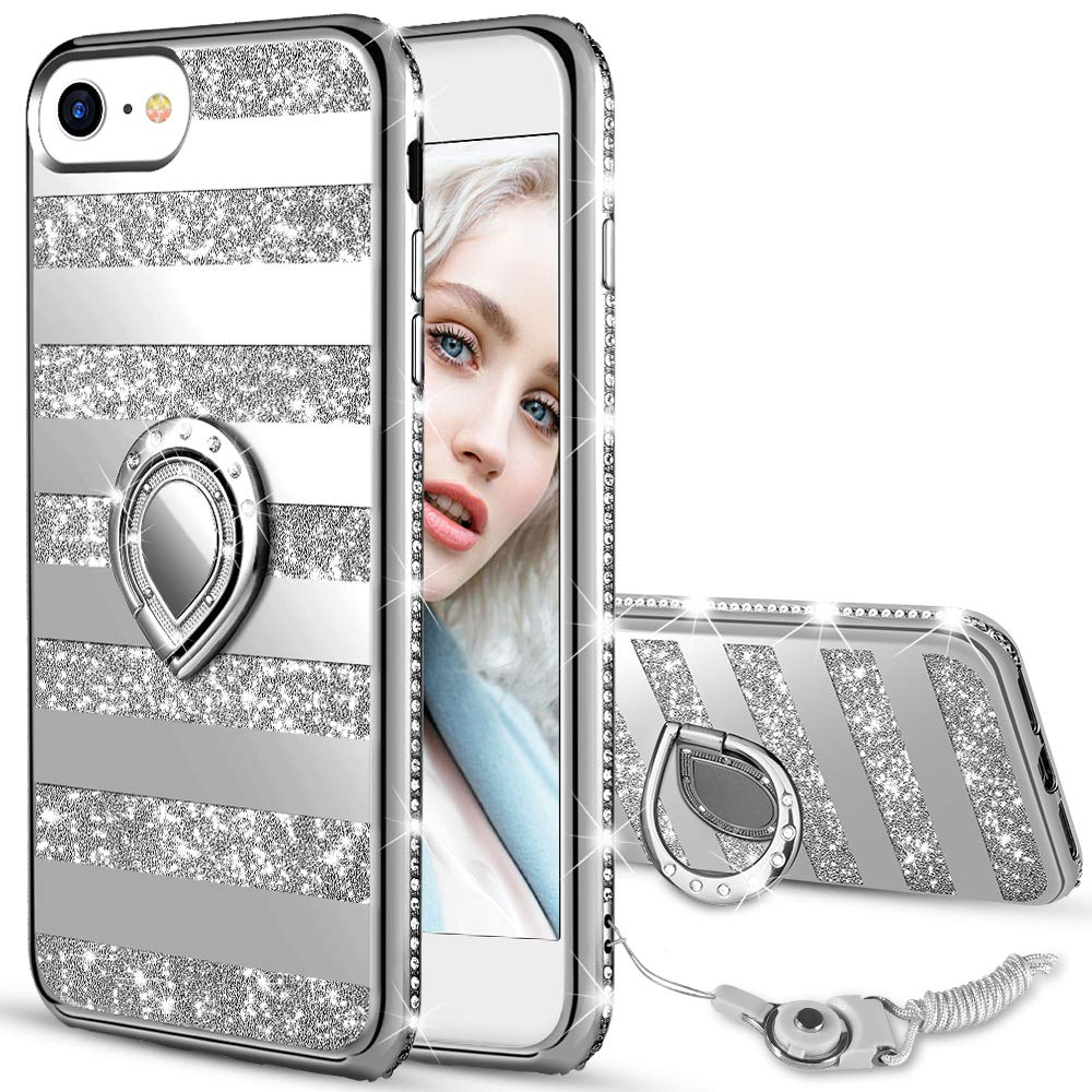 Maxdara Case for iPhone 8 iPhone 7 Glitter Case Mirror Striped Bling Shiny Diamond Rhinestone with Kickstand Ring Stand Cute Women Girls Case for iPhone 6 6s 7 8 4.7 inches (Sliver) by Maxdara